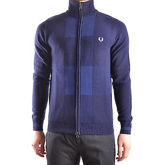 Fred Perry Ezbc094011 Män's Blue Wool Cardigan