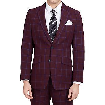 Dobell Herre Bourgogne Suit jakke Slim Fit Notch revers blå rude Check