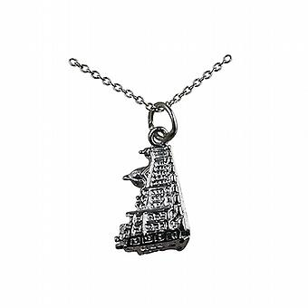 Silver 12x16mm Harrods building Pendant with a rolo Chain 24 inches