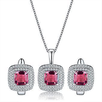 925 Sterling Zilver Halo kussen Asscher gesneden roze kleur Set