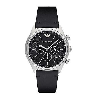 Emporio Armani mænds Ar1975 kjole sort læder ur
