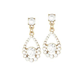 Eternal Collection Romance Clear Crystal Gold Tone Drop Pierced Earrings