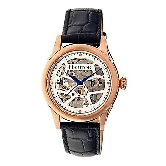 Heritor Automatic Nicollier Skeleton Leather-Band Watch - Rose Gold/Black