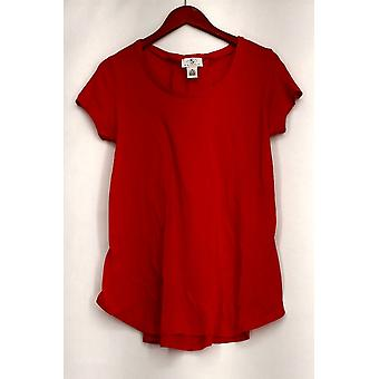 OSO Casuals Top Short Sleeve Lace Up Back Top Orange Womens A408363