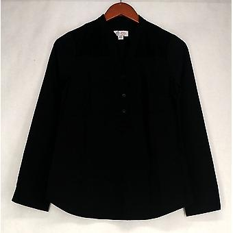 Denim & Co. Top XXS stretch knop front shirt w/Lace detaillering zwart A235304