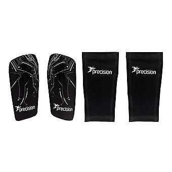 Precision Pro Matrix Football Shinguard + Sleeve Shinpad Guard Black/Silver