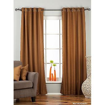 Brown Ring Top Matka Raw Silk Curtain / Drape / Panel - Piece