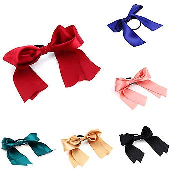 TRIXES Pack of 6 Pretty Ribbon Elasticated Hair Ties – Girls Hair Accessory-Assorted Colours