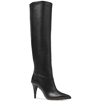 Michael Kors Womens Rosalyn Leather Peep Toe Knee High Fashion Boots