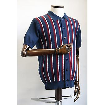 Merc London Wilmot Navy Stripe Button Through Knit