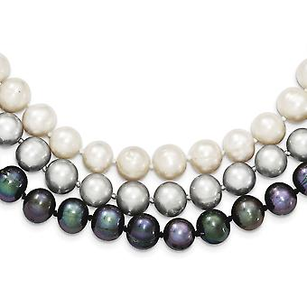 925 στερλίνα ασημένια μαργαριτάρι κούμπωμα 8 8.5 mm γλυκού νερού καλλιεργημένα μαργαριτάρια λευκό μαύρο γκρι κολιέ 17 ιντσών κοσμήματα δώρα για Wo