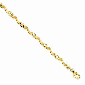 Goud-geflitst satijn kreeft klauw sluiting bezel Cubic Zirconia S Link Bracelet