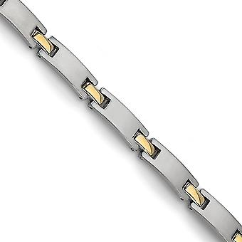 Titanium 24k Gold Flashed Brushed Polished Fold over Engravable Yellow IP plated Bracelet 8.5 Inch Jewelry Gifts for Wom