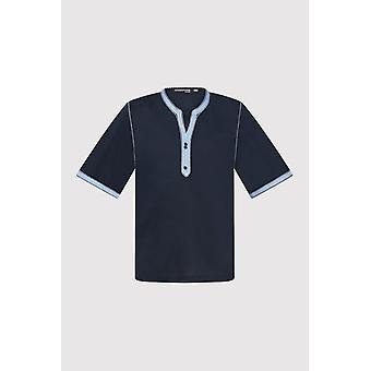 Camiseta de ajuste de contraste de manga recortada en marino (2-12 y3años)
