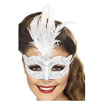 Womens Venetiaanse Glitter Eyemask Fancy Dress accessoire