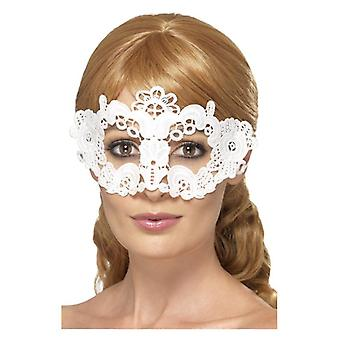 Womens weiß bestickt Lace filigran Floral Eyemask Fancy Dress Zubehör