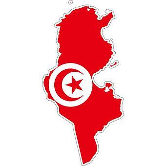 Autocollant Sticker Adhesif Voiture Vinyle Drapeau Carte Tunisie Tunisien