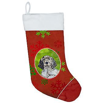 Englanti Setter punainen ja vihreä lumihiutaleet Holiday joulua joulusukka