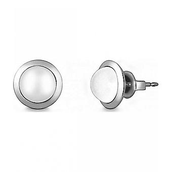 Quinn - Silver stud earrings with moonstone - 03683899