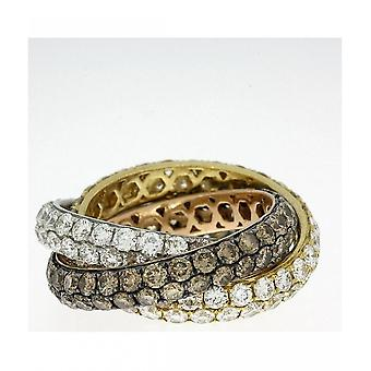 Diamantring ring-18K 750 hvid guld-gul guld-rød guld-7,25 CT.