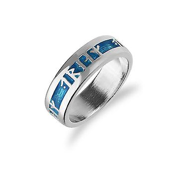 Sterling Argent Traditionnel Scottish Dream Runic Blue Enamel Hand Crafted Design Ring