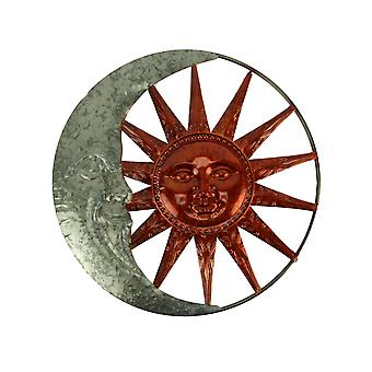 Galvanized and Copper Color Metal Celestial Sun and Moon Indoor Outdoor Wall Art