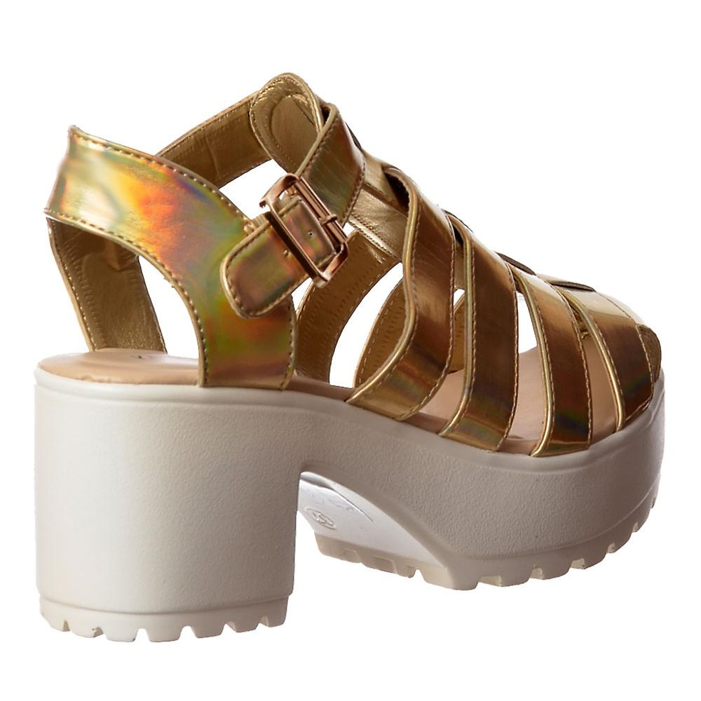Onlineshoe Cut Out Gladiator Platform Summer Sandals - Chunky Cleated Sole Block Heel