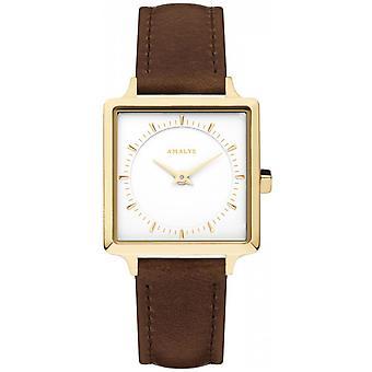 Watch Amalys SISTINE - Steel IP dor dial White Leather Bracelet Brown woman