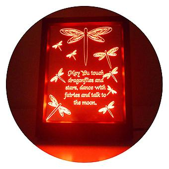 Libelle und Zitat Farbwechsel RC LED Spiegel LightFrame