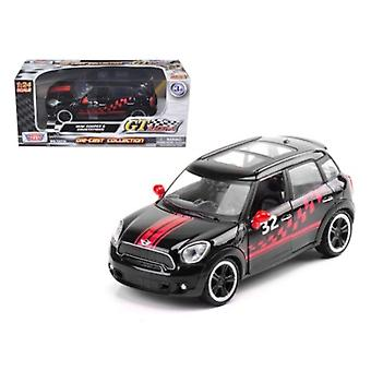 Mini Cooper S Countryman Black Racing 1/24 Diecast Car Modelo por Motormax