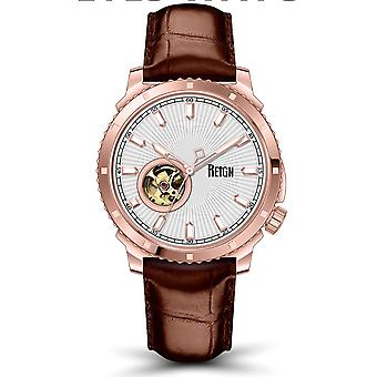 Reign Bauer Semi-SkeletonLeather-Band Watch- Rose Gold/White