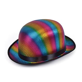 Bristol Novelty Unisex Adults Metallic Rainbow Bowler Hat