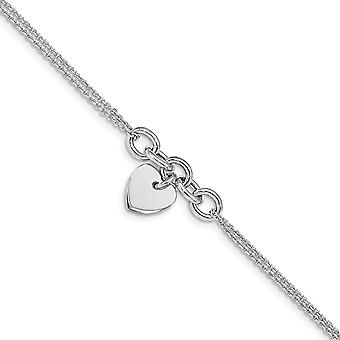 925 Sterling Ezüst Rhodium bevonatú Love Heart Multi szál 1inch Ext. Karkötő 6 Inch