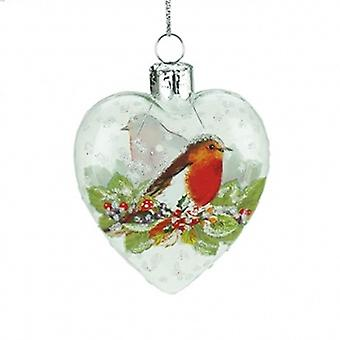 Gisela Graham Clear Glass Heart Bauble