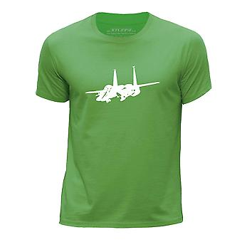 STUFF4 Boy's Round Neck T-Shirt/Fighter Jet Plane/F-15 Eagle/Green