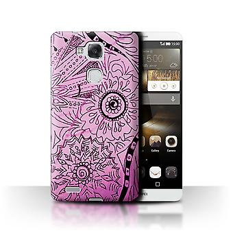STUFF4 Case/Cover for Huawei Ascend Mate7/Pink/Black/Henna Paisley Flower