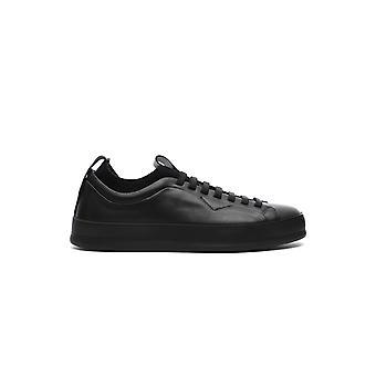 Z Zegna Lhitga4301xner Men's Black Leather Sneakers