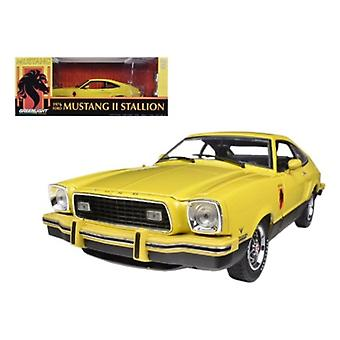 1976 Ford Mustang II Stallion Yellow / Black 1/18 Diecast Car Model by Greenlight