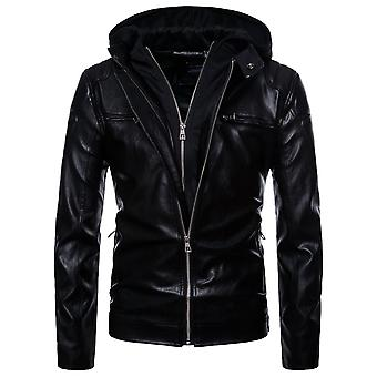 Cloudstyle Men's PU Faux Leather Jacket Fake Two-Pieces Hooded