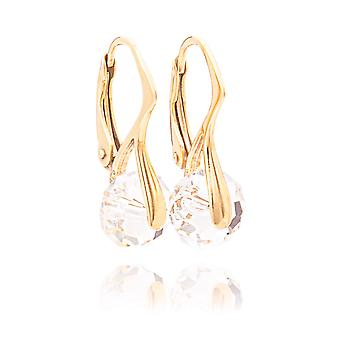 Ah! Jewellery Stunning 8mm Briolette Genuine Crystals From Swarovski Gold Over Sterling Silver Earrings. Stamped 925