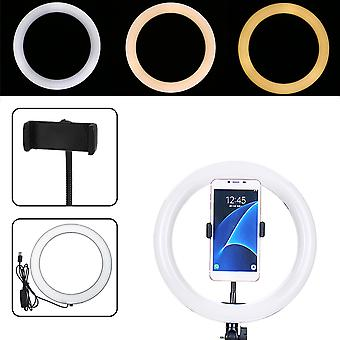 26cm portable stepless adjustable led ring full light makeup mirror light photography lighting selfie ring lamp with phone holder