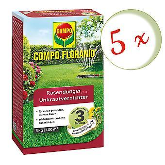 Sparset: 5 x COMPO Floranid® nurmikon lannoite ja ruohontappaja, 3 kg