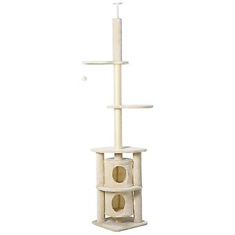 PawHut 5-Tier Cat Climbing Tree Super Long Kitten Activity Center Climbing Toys Tower Structures with Scratching Post Condo