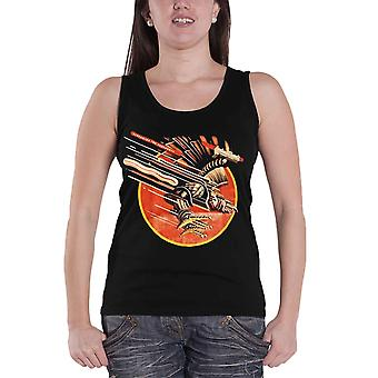 Judas Priest Vest screaming for Vengence Official Womens New Skinny Fit Top