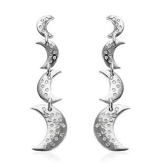 GP Blue Sapphire Drop Dangle Platinum Plaqué Boucles d'oreilles en argent Diamant blanc