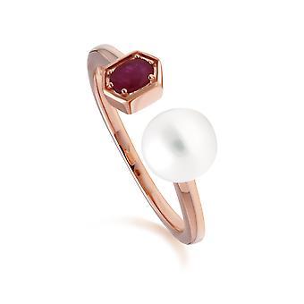 Moderne Perle & Rubin offenen Ring in Rose vergoldet Sterling Silber 270R058902925