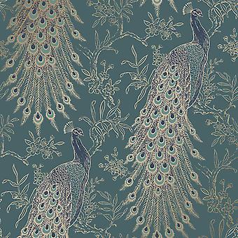 Peacock Wallpaper Emerald Green/Gold World of Wallpaper WOW040