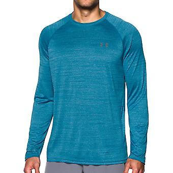 تحت درع التكنولوجيا منقوشة الرجال طويلة الأكمام ممارسة اللياقة البدنية تي شيرت تي الأزرق