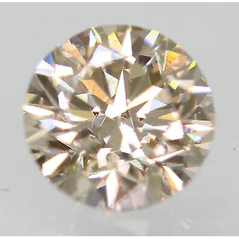 Cert 0.70 Carat Top Light Brown VVS2 Round Brilliant Natural Diamond 5.59mm 3EX