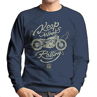 Route 66 Keep Wheels Rolling Men's Sweatshirt